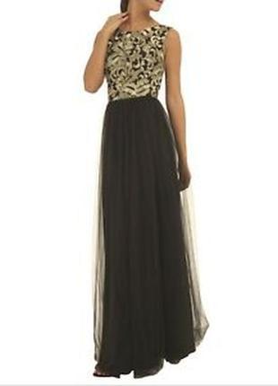 Платье вечернее на выпускной фатин и вышивка chi chi london размер 18