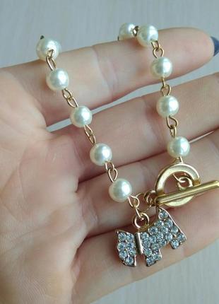Распродажа! красивый женский браслет кулон собака стразы камни золотой жемчуг