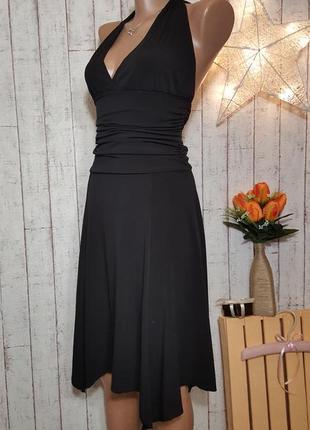 Черное платье миди по фигуре интересного кроя с асимметричным низом бренда piena р. м -  l