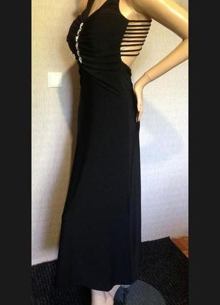 Шикарное длинное чёрное платье