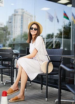 Льняное платье сарафан миди в полоску полосатое свободного кроя
