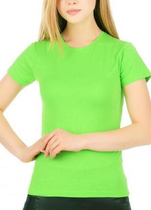 Базовая однотонная зеленая салатовая футболка 100% коттон