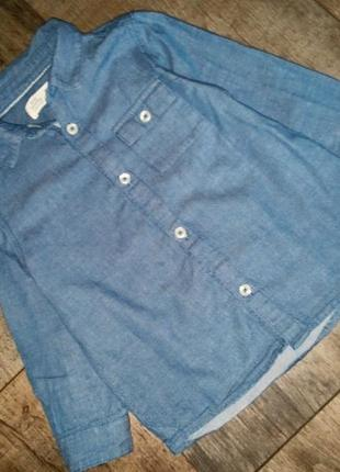 Летняя джинсовая рубашка zara baby  boy 98 см .