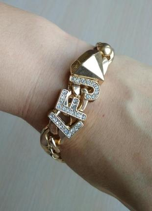 Распродажа! красивый массивный золотой браслет с камнями traci lynn
