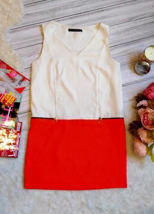 Красивое летнее комбинированное платье размер 10-12 (42-44)