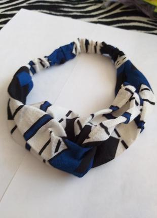 Стильная повязка - чалма в орнамент тренд сезона  синие ромбы
