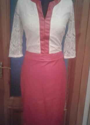 Платье нарядное красное с белым