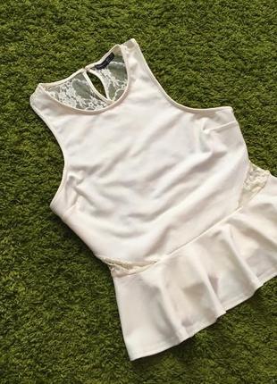 Новая пудровая блуза с баской большой размер р.16