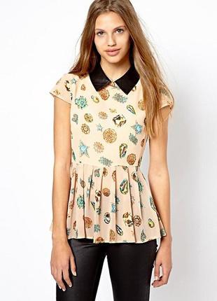 Блуза с воротником из кожзама asos,р-р 10