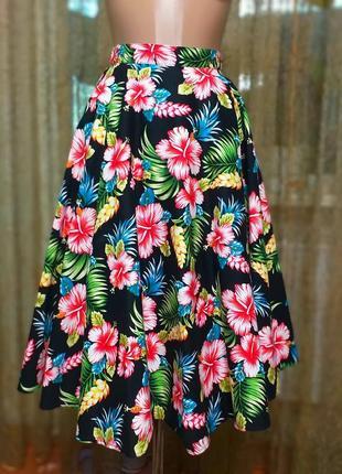 Пышная юбка солнце миди в цветочный тропический принт