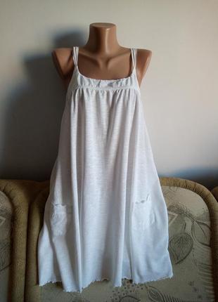 Белое расклешенное платье, р. 14