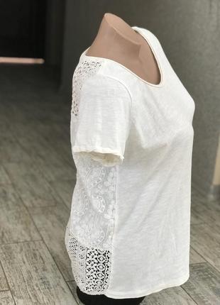 Белая легкая футболка с кружевной спинкой h&m