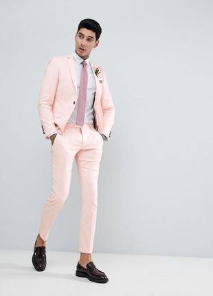 Pозовые льняные брюки twisted  super skinny, р-р  w30,l 30