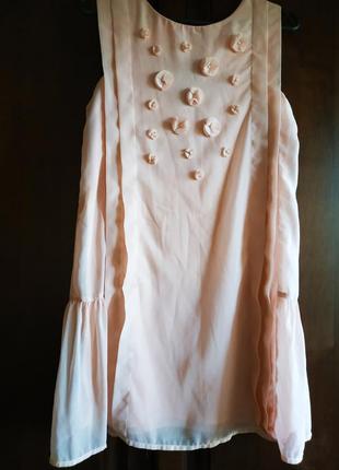 Платье нарядное пудровое шифоновое