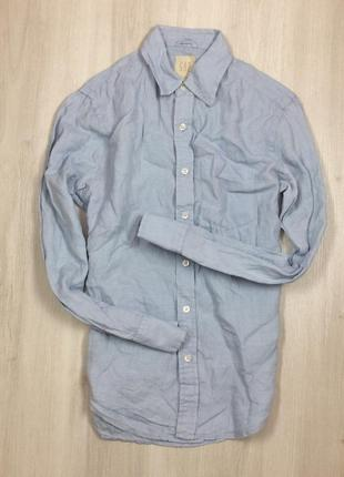 S приталенная рубашка льняная gap гап лен мужская голубая