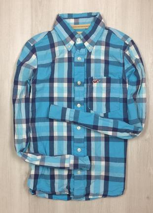 S рубашка hollister мужская голубая холлистер клетчатая в клтеку