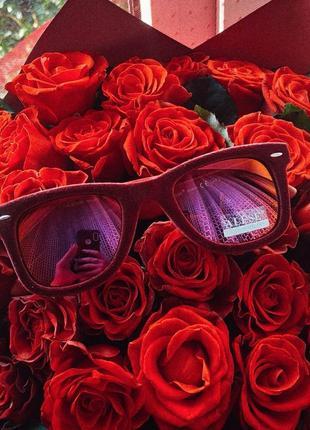 Солнцезащитные очки, квадратные очки, бархатные бордовые
