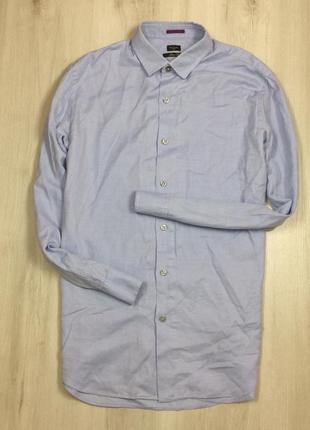 M-l приталенная рубашка paul smith мужская голубая пол смич