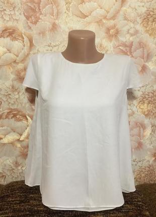 Белая воздушная двойная блузка lime , с завязкой - черный бант, 40 р