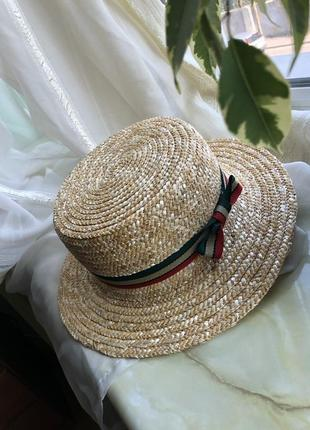 Шляпа канотье / канотьє / пляжная соломенная шляпа