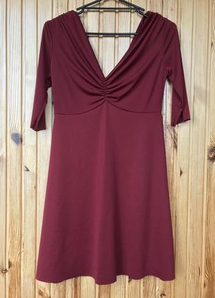 Стильное бордовое вечернее коктельное мини платье zara