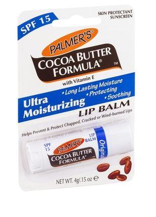 Бальзам для губ с маслом какао palmer's cocoa butter formula spf 15,  4 гр.