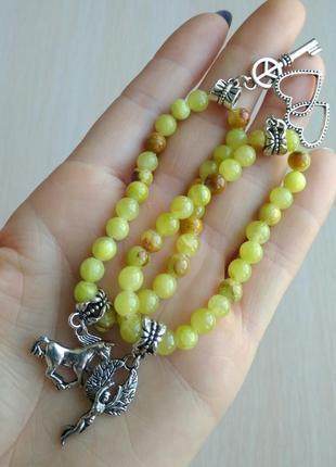 Распродажа! набор браслетов из натурального камня с подвесками шарм ангель лошадь сердце