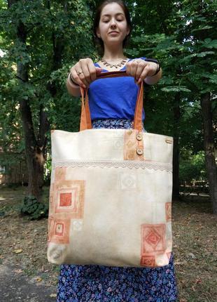 """Эко-сумка сумка шоппер """"terracotta"""" ручной работы"""