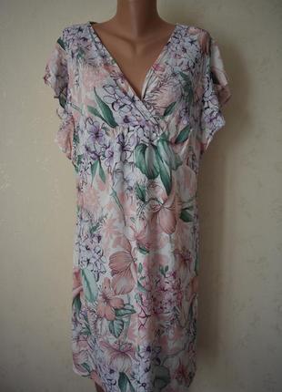 Нежное вискозное платье с принтом большого размера