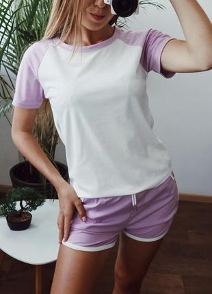 Костюм с шортами повседневный сиреневый с белым футболка + шорты one size