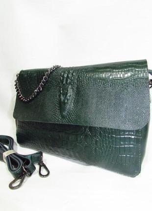 Кожаный женский клатч изумрудный зеленый из натуральной кожи с ремешком сумка под рептилию