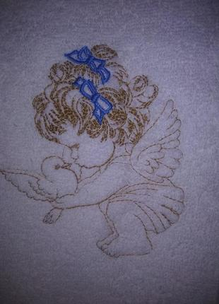 """Крыжма-полотенце """"ангелочек с голубем"""" синее бантики"""