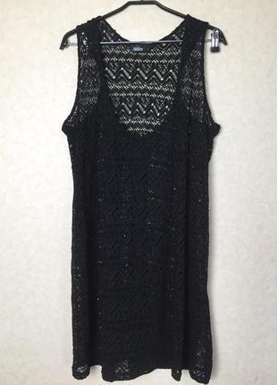 Кружевное пляжное черное платье свободного кроя от janina