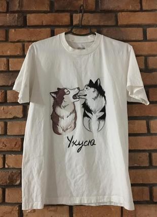 Мужская футболка с ручной росписью