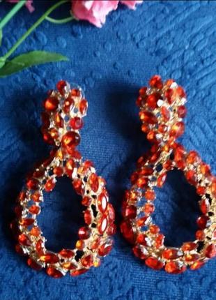 Серьги в стиле zara красные вечерние сережки