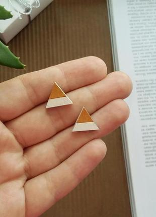Стильні дерев'яні сережки трикутнички
