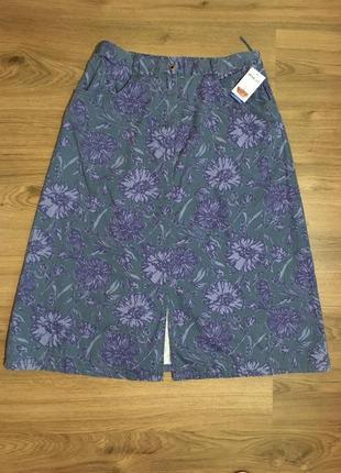 Коттоновая юбка трапеция в цветочный принт!!