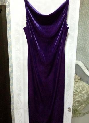Бархатное платье в бельевом стиле 46 размер