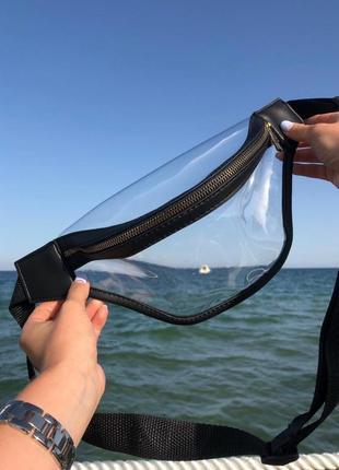 3 цвета! прозрачная голографическая перламутровая бананка сумка на пояс поясная