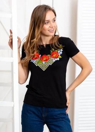 Чорна жіноча вишиванка на короткий рукав в національному стилі «диво маки»