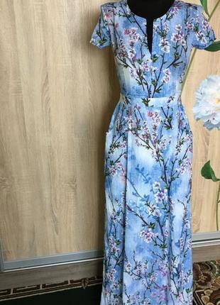 Красивое платье сарафан в пол s цветочный принт defile lux