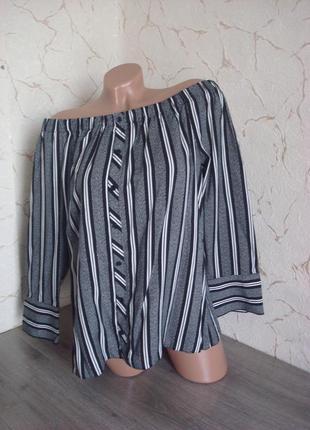 Рубашка, блуза блузка сорочка с открытыми плечами в полоску чёрно-белая