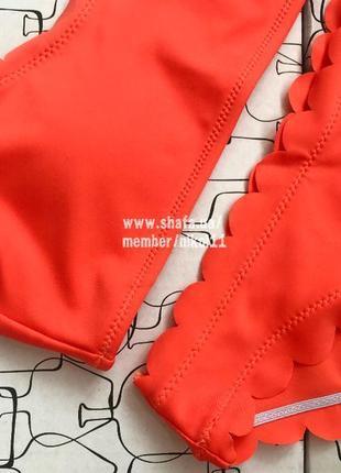 Яркий оранжевый купальник с волнистыми краями 🍊💣 бикини 💥 лиф топ6 фото