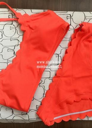 Яркий оранжевый купальник с волнистыми краями 🍊💣 бикини 💥 лиф топ4 фото