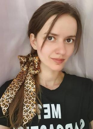 Бант заколка лента леопард