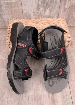Черные мужские спортивные босоножки сандалии на липучках