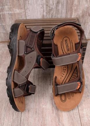Коричневые мужские спортивные босоножки сандалии на липучках