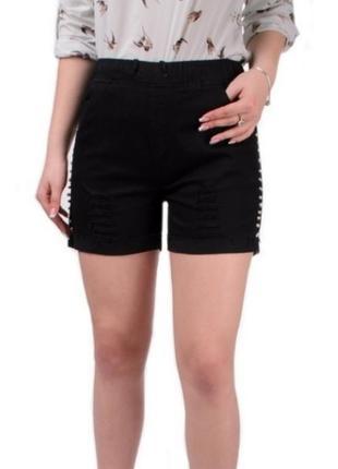 Черные шорты с бусинами