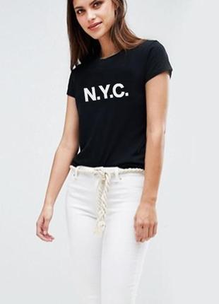 Черная футболка nyc 100% коттон размеры