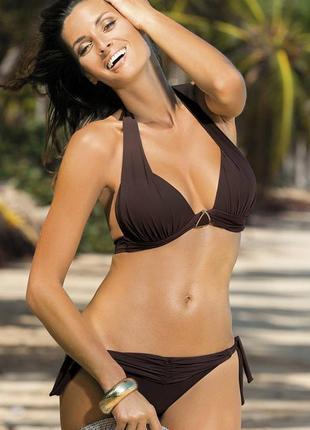 Liza м-252 marko раздельный купальник халтер плавки на завязках коричневый